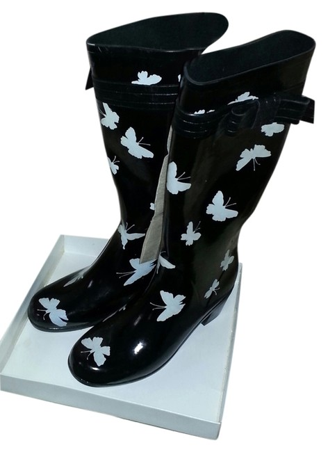 Item - Black and White Butterfly Bow Rainboots Boots/Booties Size US 10 Regular (M, B)