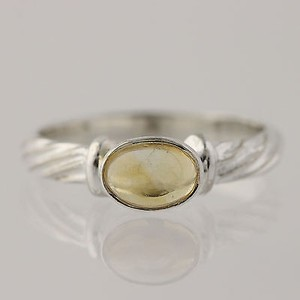 Citrine Solitaire Ring - 925 Sterling Silver 6.75-7 Oval 0.85ct Gemstone