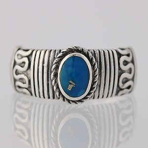 Turquoise Ring Sterling Silver Oval Solitaire Womens Birthtstone