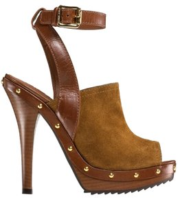 Tory Burch Leather Suede Studded Brown Mules