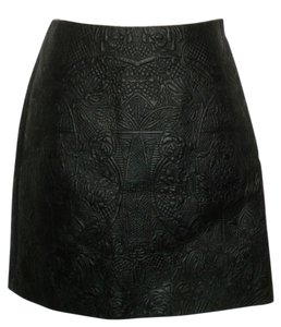 Karen Millen Faux Leather Leather Mini Quilted Skirt black