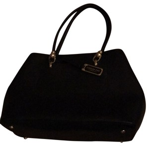 London Fog Faux Leather Gold Hardware Tote in black