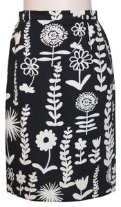Mondi Pencil Wear To Work Floral Print Skirt BLACK AND WHITE