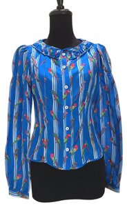 CoSTUME NATIONAL Parrot Printed Puff Sleeve Top blue, white, red, green, yellow