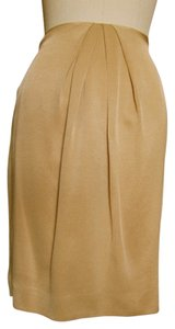 Emanuel Ungaro Vintage Pencil Ruched Front Ungaro Skirt Gold