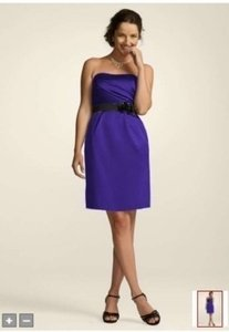 David's Bridal Purple Satin 83998 Formal Bridesmaid/Mob Dress Size 12 (L)
