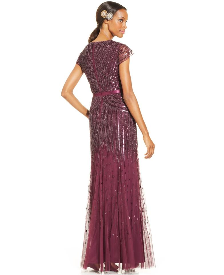 Adrianna Papell Cassis V Neck Cap Sleeve Beaded Gown Long Formal ...