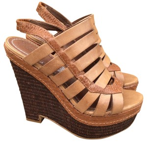 Elizabeth and James Leather Strappy Braided Embossed Platform Tan Wedges