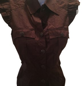 bebe Button Down Shirt Brown