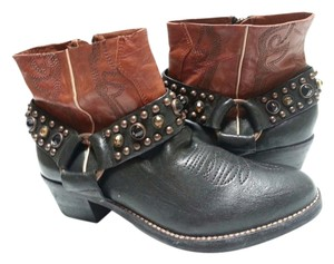 Sam Edelman Western Style Two-tone Leather Sheepskin Upper Black/Brown Boots