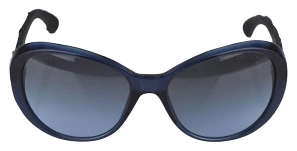 d0a6c5b53f75 Chanel Navy Blue Frame and Tweed Sunglasses - Tradesy