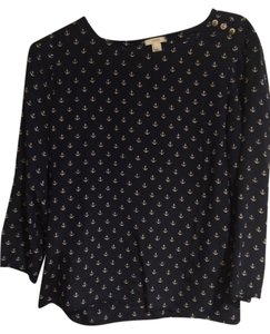 J.Crew Top navy with white anchors
