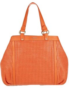 Versace Orange Raffia Leather Designer Style Fashion Weave Handbag Camden Couture Vacation Rodeo Prada Italy Itallian Tote in Tangerine