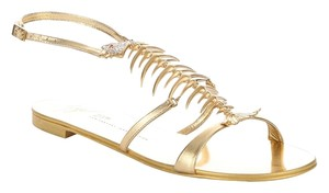 Giuseppe Zanotti Limited Edition Fish Bone Gold Sandals