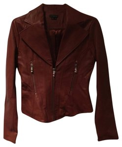 VENUS Leather Moto Zippers Cognac Leather Jacket