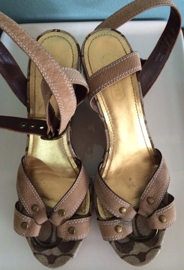 Coach Brown, Gold, Beige Sandals