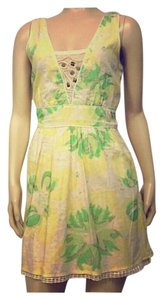 Free People short dress Green, Yellow, Cream Flowers Pretty Summer on Tradesy