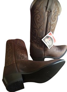 Justin Cowboy Leather Western Brown Boots