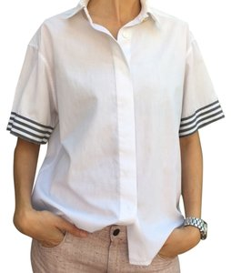 Chanel Designer Button Down Shirt White