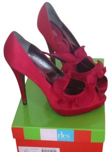 Charles David Red Satin Platforms