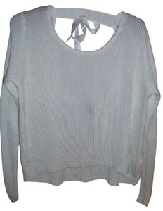 H&M Asymetrical Low Back Short Front Satin Ribbon See Through Sweater