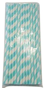 1675 Available Aqua And White Striped Straws