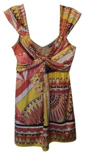 Hale Bob Silk High Waisted Sleeveless Long Sundance Top Peach, rose, yellow, brown, off-white
