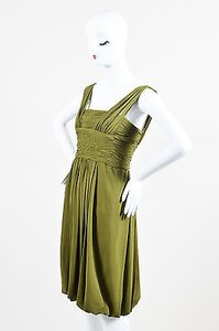 Oscar de la Renta Olive Silk Strapless Bubble Hem Dress