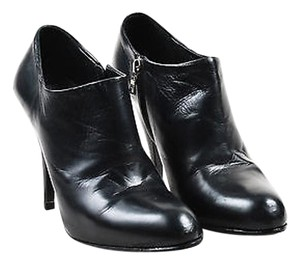 Prada Leather Almond Toe Heeled Ankle Black Boots