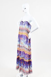 Multi-Color Maxi Dress by MSGM Silk Tropical Print Strapless Maxi