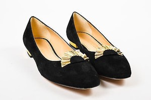 Charlotte Olympia Suede Fan Detail Fantastical 11b Black Flats