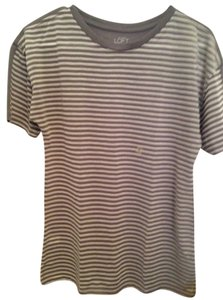 Ann Taylor LOFT Stripes Shirt T Shirt White/gray
