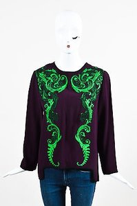 Andrew Gn Gn Green Embroidered Applique Ls Crepe Top Multi-Color
