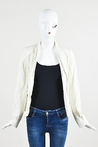 Helmut Lang White Cotton Long Cream Jacket