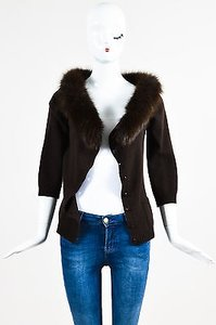 Valentino Wool Cashmere Blend Fox Fur Crop Sleeve Cardigan Sweater