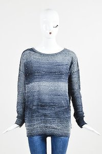 Vince Dark Ombre Wool Mohair Blend Sequined Ls Sweater