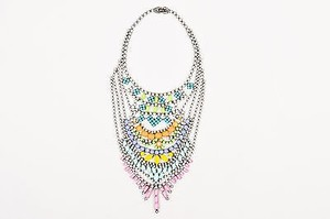 Tom Binns Tom Binns Gunmetal Multicolor Painted Coated Rhinestone Chandelier Bib Necklace