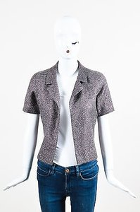 Chanel 00a Lavender Woven Metallic Knit Short Sleeve Gray Jacket