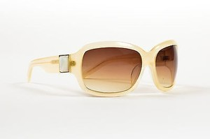 Linda Farrow Luxe Linda Farrow For Oscar De La Renta Beige Clear Pearl Detail Square Sunglasses