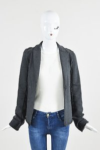 T by Alexander Wang T Alexander Wang Charcoal Knit Double Breasted Long Sleeve Blazer Jacket