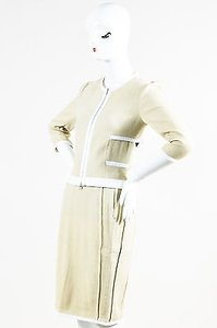 Narciso Rodriguez Narciso Rodriguez Stonewhite Silklinencotton Two Piece Ribbed Skirt Suit P