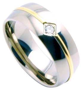 Perfect Gold IP Titanium Unisex Band Cubic Zirconia Sizes 6mm (sizes 5-8)-8mm (sizes 9-13) Special Pricing Free Shipping