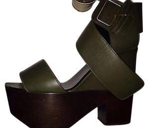 Céline Wedge Sandal Designer Olive/brown Platforms
