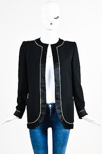 Valentino Vintage Valentino Black Gold Metallic Silk Wool Jacket Blazer