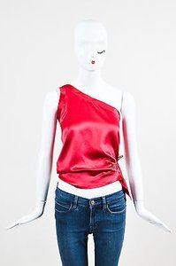 Saint Laurent Yves Satin Top Red