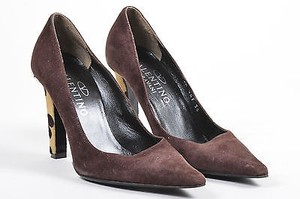 Valentino Suede Pony Brown Pumps