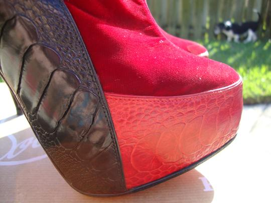 Christian Louboutin Red/Black Ostrich Leg Custom Colorway Red/Black Boots Image 1