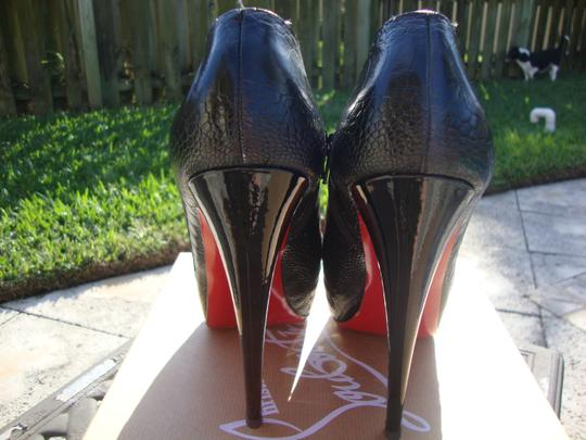 Christian Louboutin Red/Black Ostrich Leg Custom Colorway Red/Black Boots Image 2