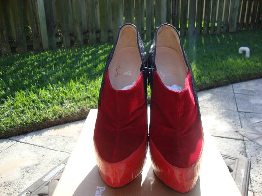 Christian Louboutin Red/Black Ostrich Leg Custom Colorway Red/Black Boots Image 3