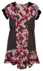 Peter Pilotto for Target Party Floral Geometric Cap Sleeves Ruffles High-low Key-hole Christmas New Years Eve Dress